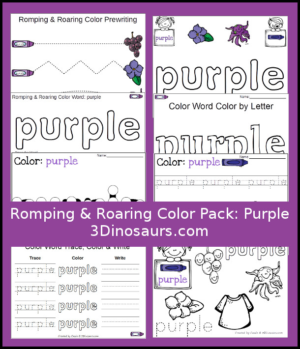 free romping roaring color pack purple 3 dinosaurs. Black Bedroom Furniture Sets. Home Design Ideas