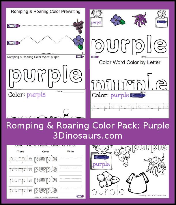 Free Romping & Roaring Color Pack Purple - 3Dinosaurs.com