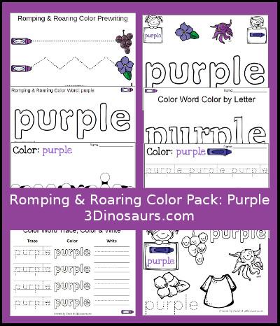 3 dinosaurs romping roaring color word purple pack. Black Bedroom Furniture Sets. Home Design Ideas
