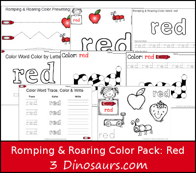 Free Romping & Roaring Color Red Word Pack - 8 pages of activities - 3Dinosaurs.com