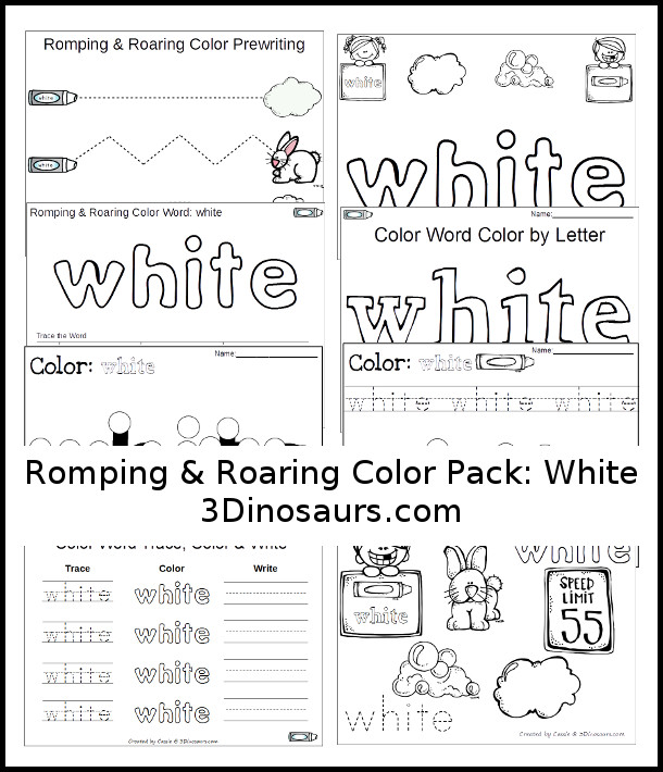 Free Romping & Roaring Color Pack White - 3Dinosaurs.com