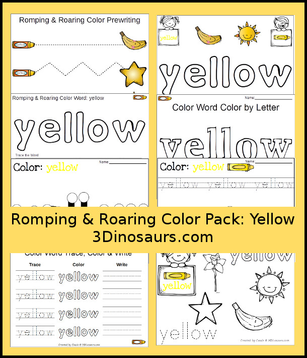 free romping roaring color pack yellow 3 dinosaurs. Black Bedroom Furniture Sets. Home Design Ideas