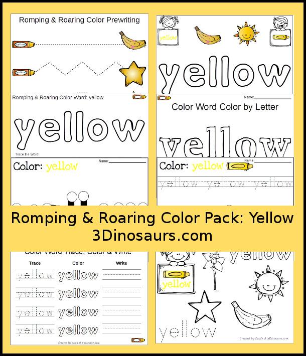 Free Romping & Roaring Color Pack Yellow - 3Dinosaurs.com