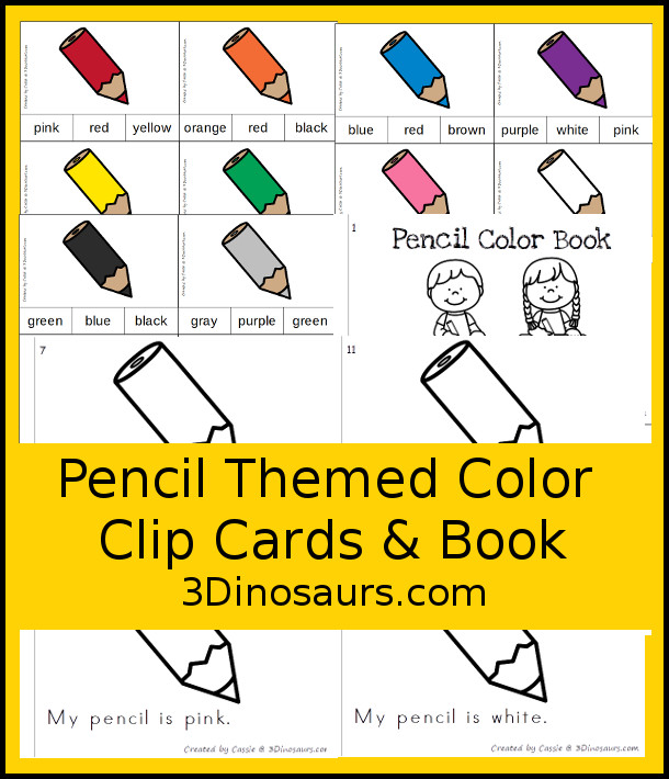 FREE Pencil Color Clip Cards & Matching Book - 11 clip cards with a matching 12-page easy reader book - 3Dinosaurs.com