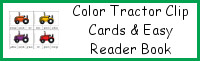 Tractor Color Clip Cards & Easy Reader Book