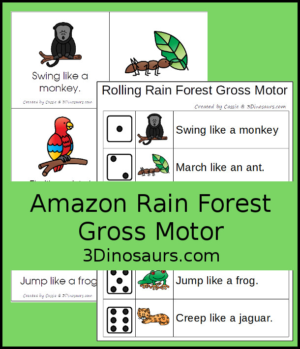 Free Amazon Rain Forest Theme Gross Motor With Afternoon in the Amazon - wth 6 fun animal movements. The animals all come from the book and go great with the Magic Tree House book - 3Dinosaurs.com #magictreehouse #grossmotor #freeprintable