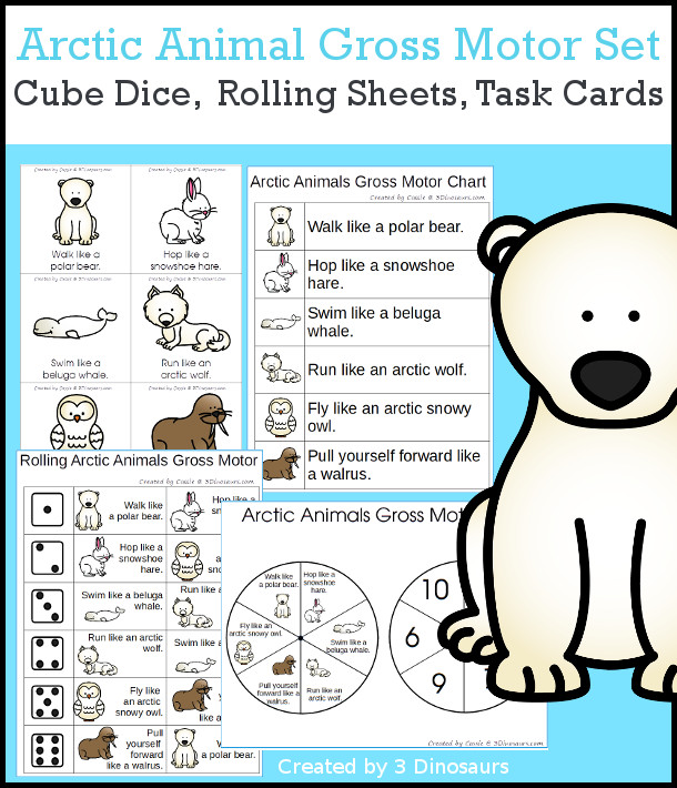Arctic Animals Gross Motor Dice - with dice, rolling dice sheets, and gross motor cards so you can do fun New Year themed movements. These are perfect for brain breaks, screen breaks, and mini gross motor centers - 3Dinosaurs.com