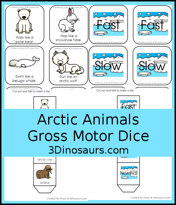 Free Arctic Animals Gross Motor Dice - 2 sets of dice for kids to get moving and with arctic animals - 3Dinosaurs.com