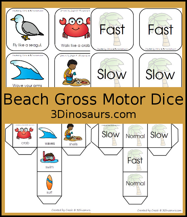 Free Beach Themed Gross Motor Dice - movement and speed dice for kids to have fun with - 3Dinosaurs.com