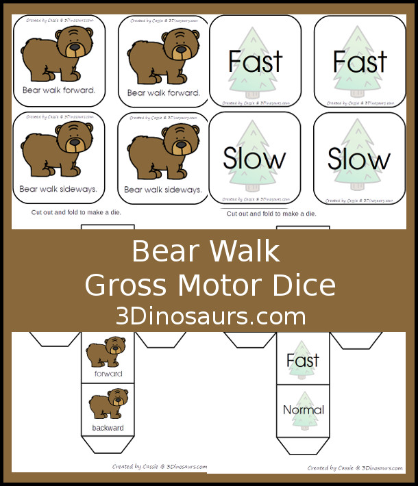Free Bear Walk Gross Motor Dice -  3 movements with speed dice included with dice and dice incerts - 3Dinosaurs.com #grossmotor #freeprintable