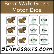 Bear Themed Gross Motor Dice - 3Dinosaurs.com