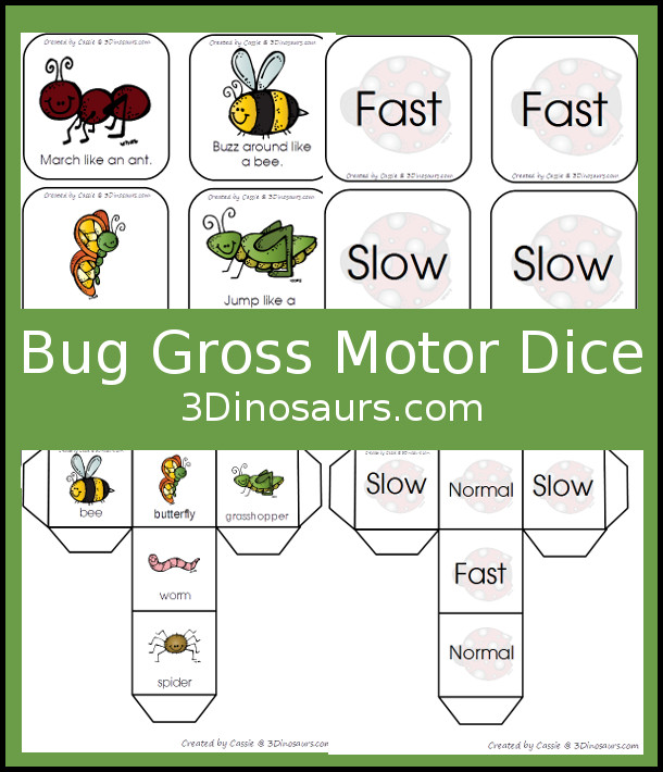 Free Bug Themed Gross Motor Dice - movement and speed dice for kids to have fun with - 3Dinosaurs.com