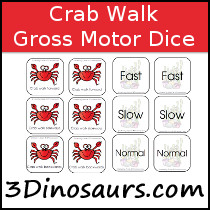 Crab Themed Gross Motor Dice - 3Dinosaurs.com