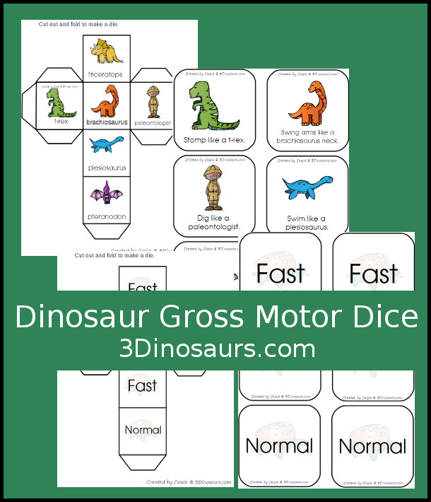 Free Stomping Dinosaur Gross Motor Dice - 2 sets of dice for kids to get moving and learn their dinosaur names - 3Dinosaurs.com