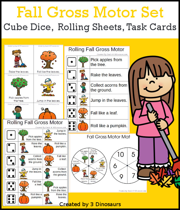 Fall Gross Motor Dice - with dice, rolling dice sheets, and gross motor cards so you can do fun fall movements. These are perfect for brain breaks and mini gross motor centers - 3Dinosaurs.com