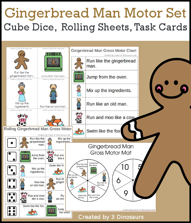 Gingerbread Man Gross Motor Dice - with dice, rolling dice sheets, and gross motor cards so you can do fun gingerbread man story movements. These are perfect for brain breaks and mini gross motor centers - 3Dinosaurs.com