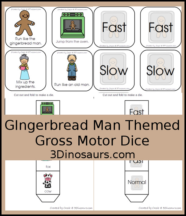 Free Gingerbread Man Story Gross Motor Dice - 6 movements to use with the gingerbread man story with including speed dice as well - 3Dinosaurs.com