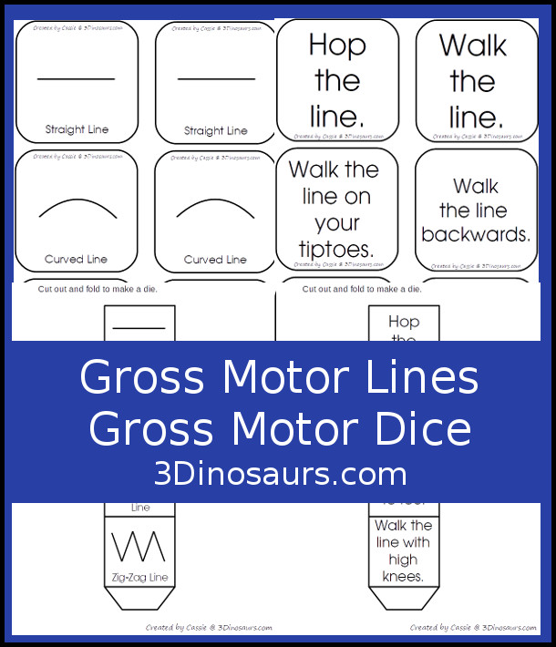 Free Gross Motor Tape Lines Gross Motor Dice -  3 lines with movements suggestions included with dice and dice inserts - 3Dinosaurs.com #grossmotor #freeprintable