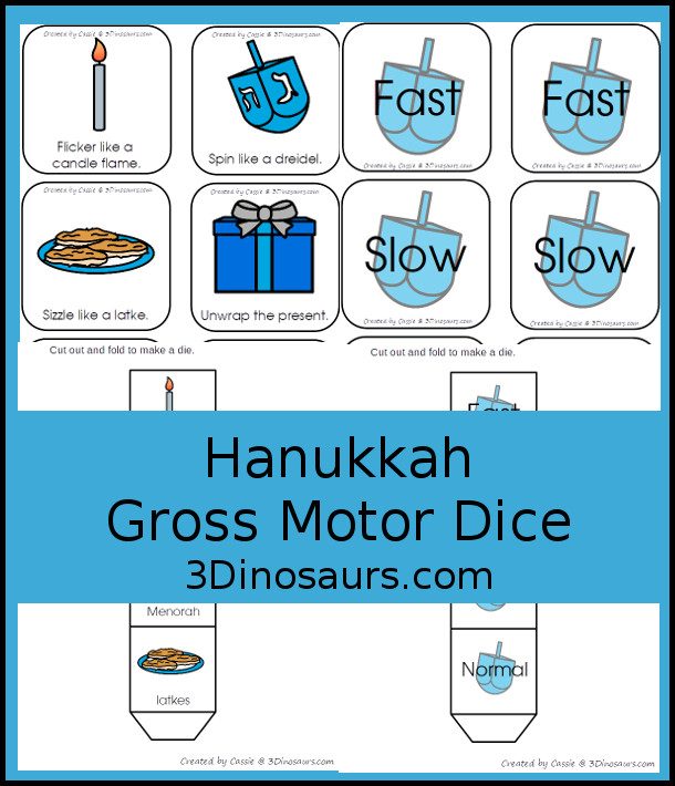 Free Hanukkah Gross Motor Dice - 2 sets of dice for kids to get moving and with Hanukkah Themes - 3Dinosaurs.com