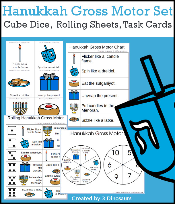 Hanukkah Gross Motor Dice - with dice, rolling dice sheets, and gross motor cards so you can do fun Hanukkah themed movements. These are perfect for brain breaks, screen breaks, and mini gross motor centers - 3Dinosaurs.com