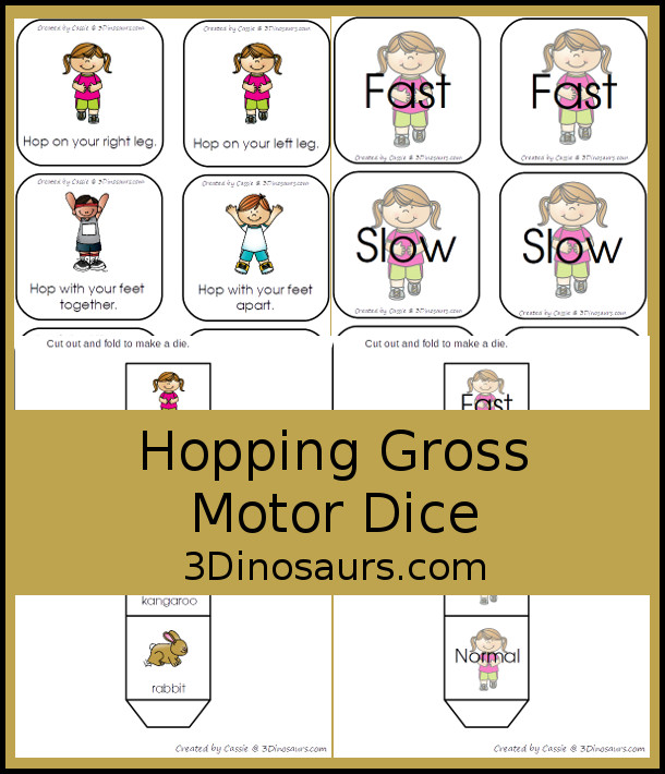 Free Hopping Gross Motor Dice -  6 movements with speed dice included with dice and dice inserts - 3Dinosaurs.com #grossmotor #freeprintable