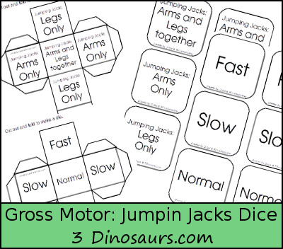 Gross Motor Fun: Jumping Jacks Dice with free printable - 3Dinosaurs.com