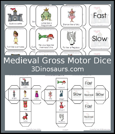 Medieval Themed Gross Motor Dice - 3Dinosaurs.com
