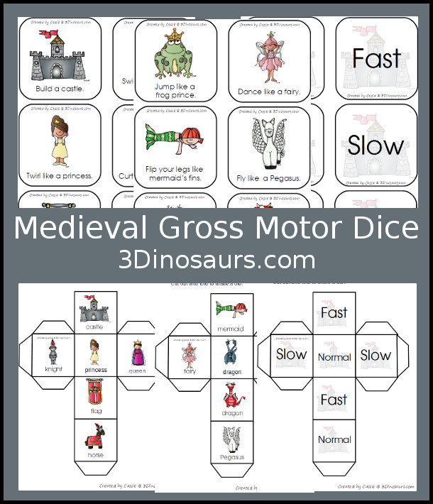 Free Medieval Gross Motor Dice - two different dice for kids to move with - 3Dinosaurs.com