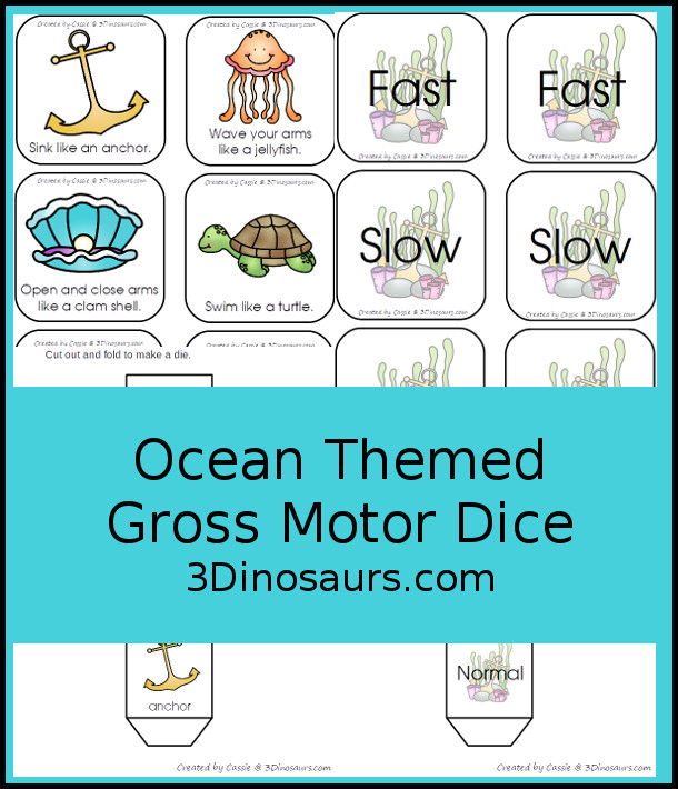 Free Ocean Themed Gross Motor Dice -  6 action movements included with dice and dice inserts - 3Dinosaurs.com #ocean #grossmotor #freeprintable