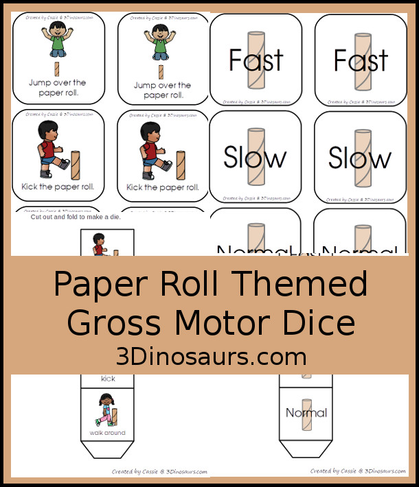 Free Paper Roll Themed Gross Motor Dice -  3 action movements included with dice and dice inserts - 3Dinosaurs.com #earthday #grossmotor #freeprintable