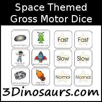 Space Themed Gross Motor Dice - 3Dinosaurs.com
