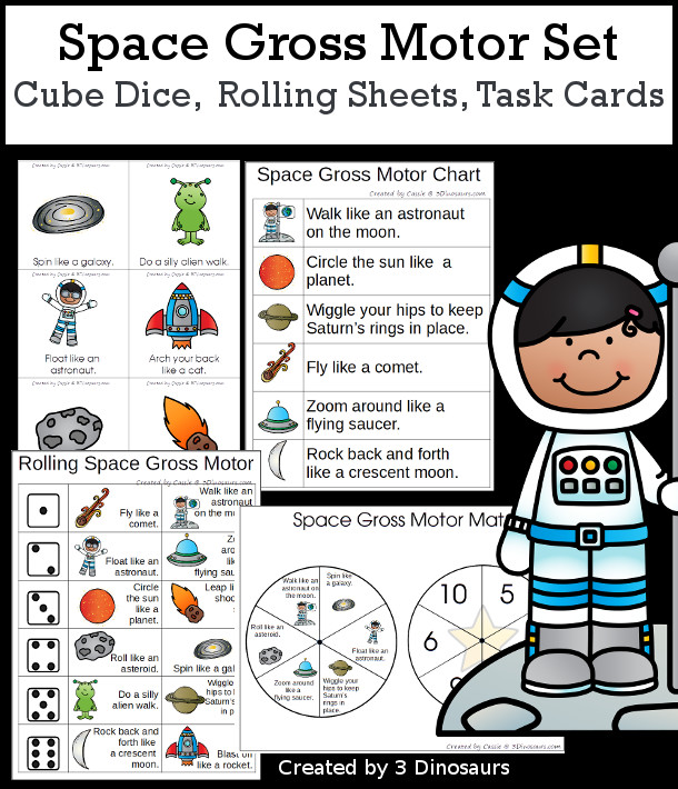 Space Gross Motor Dice - with dice, rolling dice sheets, and gross motor cards so you can do fun space themed movements. These are perfect for brain breaks, screen breaks, and mini gross motor centers - 3Dinosaurs.com
