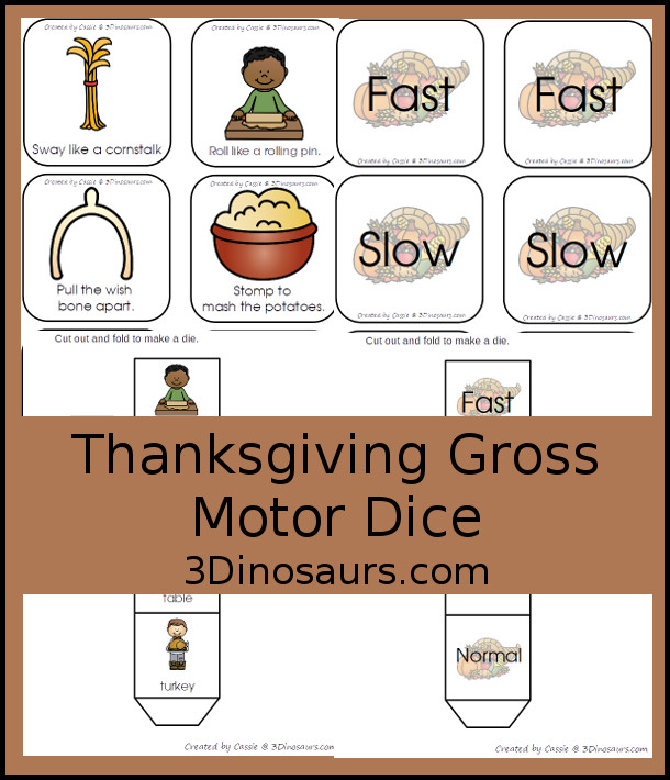 Free Thanksgiving Gross Motor Dice - 6 fun Thanksgiving themes and movements with a speed dice - 3Dinosaurs.com #thanksgivingorkids #grossmotor #grossmotordice #freeprintable #3dinosaurs