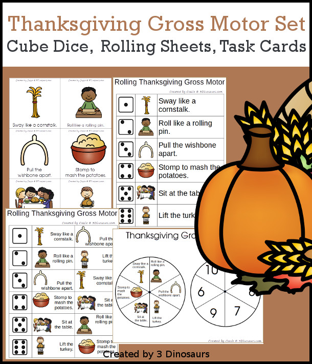 Thanksgiving Gross Motor Dice - with dice, rolling dice sheets, and gross motor cards so you can do fun Thanksgiving Dinner themed movements. These are perfect for brain breaks, screen breaks, and mini gross motor centers - 3Dinosaurs.com