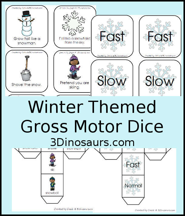 Free Winter Gross Motor Dice - 2 sets of dice for kids to get moving and with winter themes - 3Dinosaurs.com