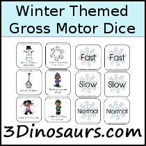 Winter Gross Motor Dice - 3Dinosaurs.com