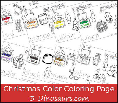 Free Christmas Themed Color Coloring Pages - 3Dinosaurs.com