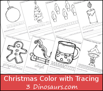 Free Christmas Coloring with Word Print & Cursive Printable - 3Dinosaurs.com