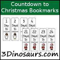 Count Down To Christmas Bookmarks - 3Dinosaurs.com