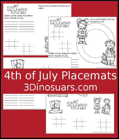 4th of July Placemat printable - 3Dinosaurs.com