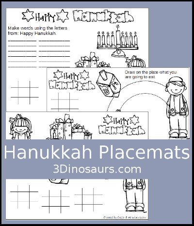 image about My Plate Printable Placemat referred to as 3 Dinosaurs - Hanukkah Placemats Printables