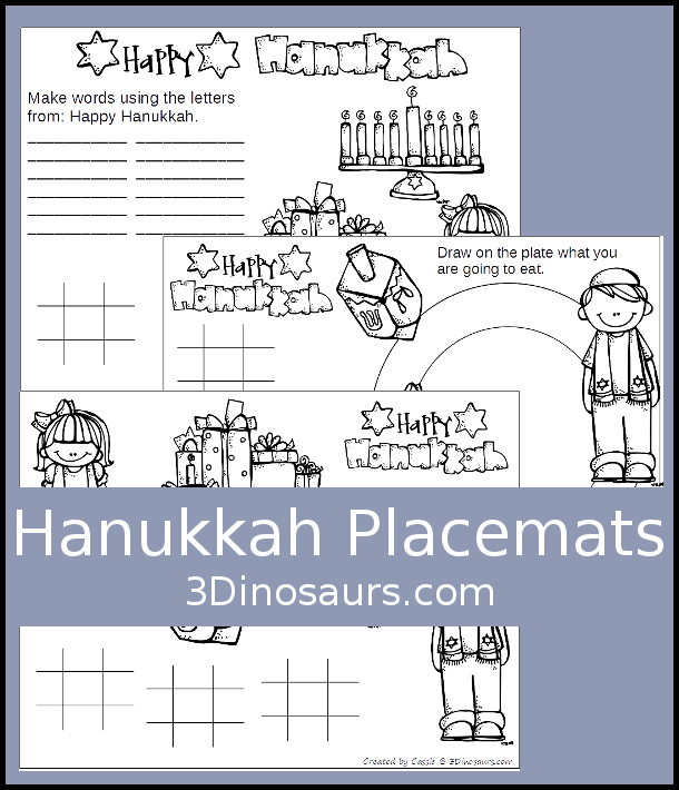 Free Hanukkah Placemats - 3 different mats - 3Dinosaurs.com
