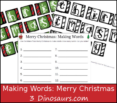 Free Making Words: Merry Christmas Printable - 3Dinosaurs.com