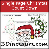 Free Single Page Count Down to Christmas Printables