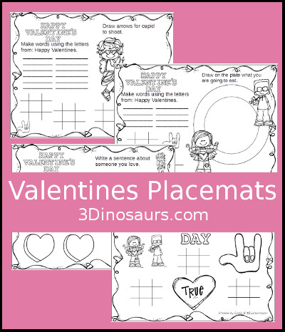 Valentines Placemat printable - 3Dinosaurs.com