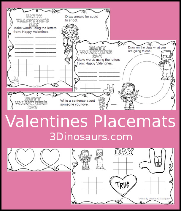 Fun Free Valentines Themed Placemats 3 Dinosaurs