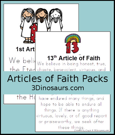 photo regarding Printable Articles of Faith identify 3 Dinosaurs - Article content of Religion Printables