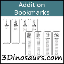 Addition Bookmarks Printable - 3Dinosaurs.com