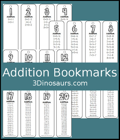 3 Dinosaurs - Addition Bookmark Printables
