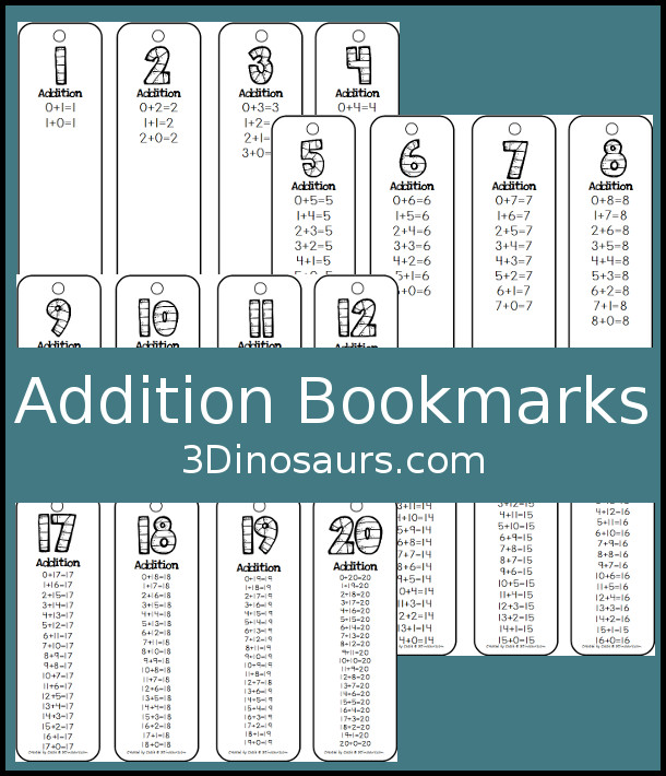 Addition Bookmarks {Free} | 3 Dinosaurs